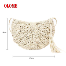 Womens Single-shoulder Fringed Straw Braided Bag Natural Fashionable Simple Woven Semi-circular Bags 2 Colors Brand New