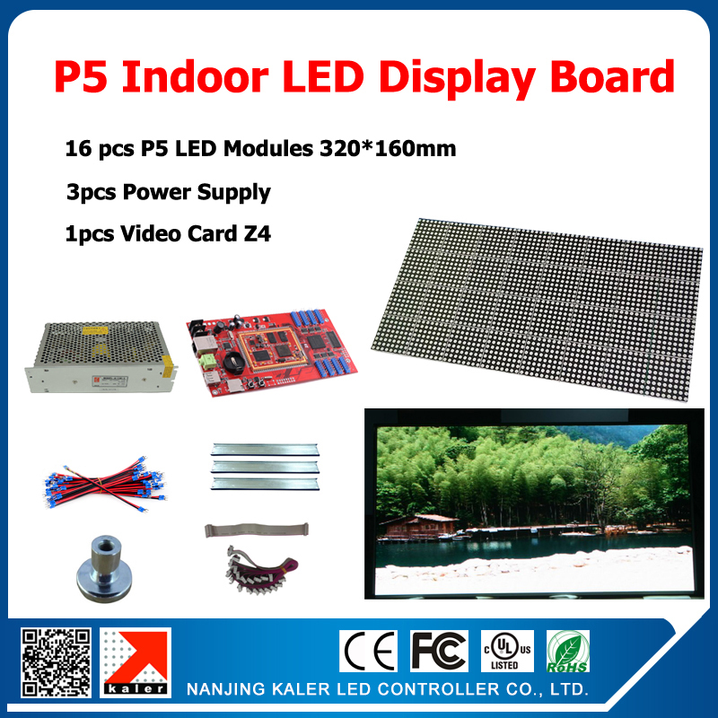 Indoor Full Color Video Wall Electronic Sign 640*1280mm Indoor LED Display Board 16pcs P5 Indoor RGB LED Modules + DIY Kits