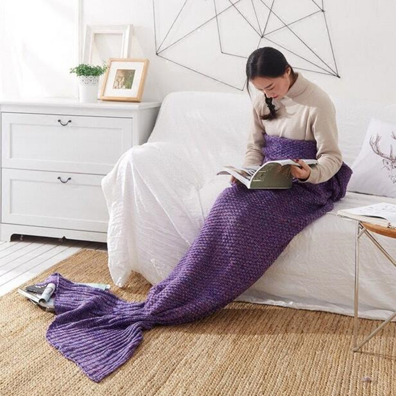 7 colors Handmade Crochet Yarn Knitted Mermaid Tail Blanket Super Soft warm Sleeping Bed Sofa covered blanket for Adult Child