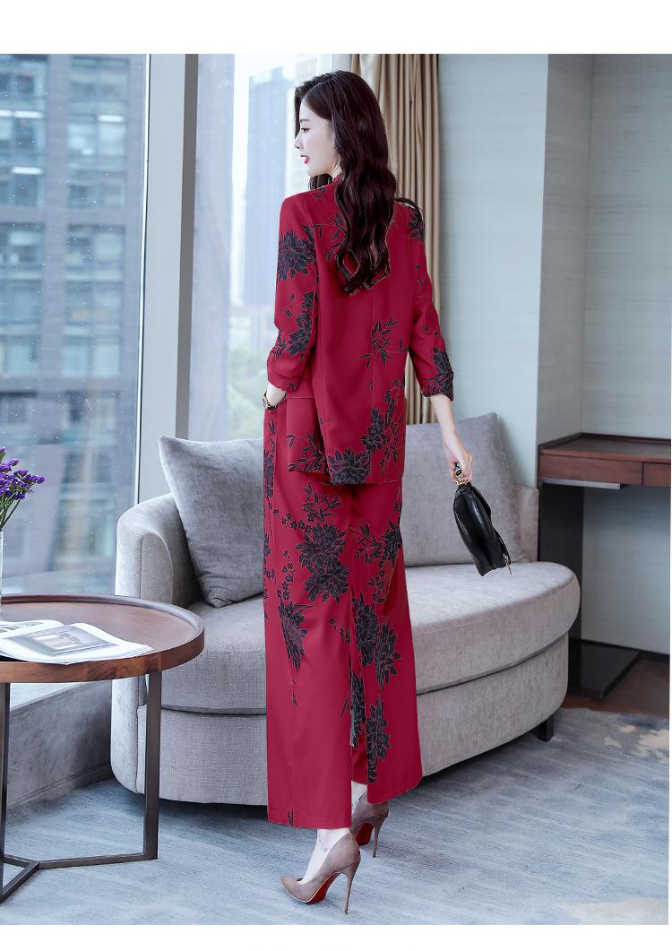 YASUGUOJI New 2019 Spring Fashion Floral Print Pants Suits Elegant Woman Wide-leg Trouser Suits Set 2 Pieces Pantsuit Women 35