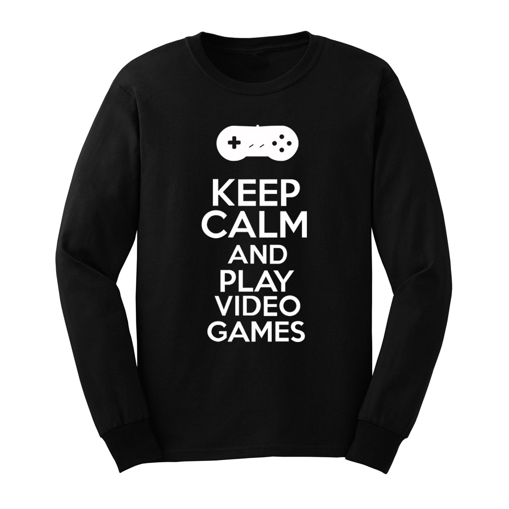 Mens Keep Calm And Play Video Games Gamer Long Sleeve Adult T-Shirts Casual Men Tee