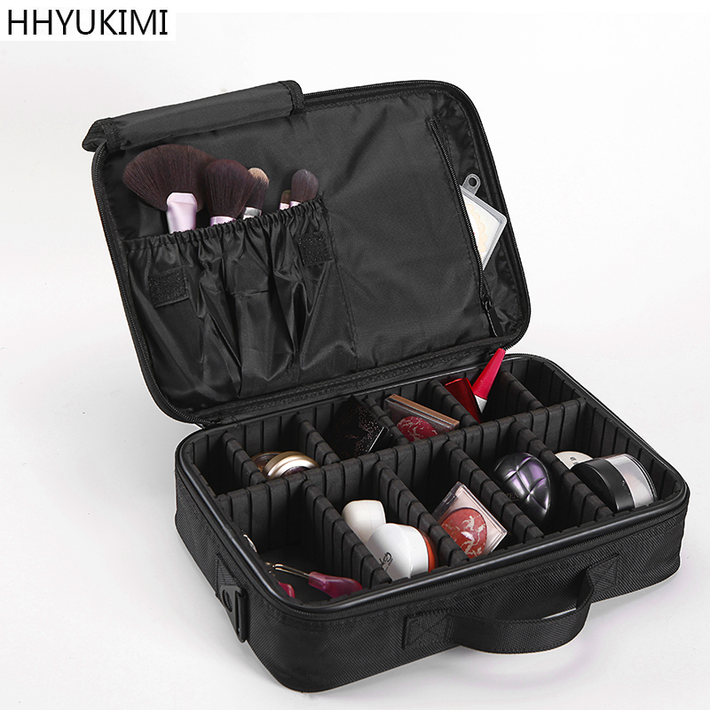 все цены на HHYUKIMI Makeup Brush Bag Case Make Up Organizer Toiletry Storage Cosmetic Bag Large Nail Art Tool Boxes With Portable Bolso онлайн