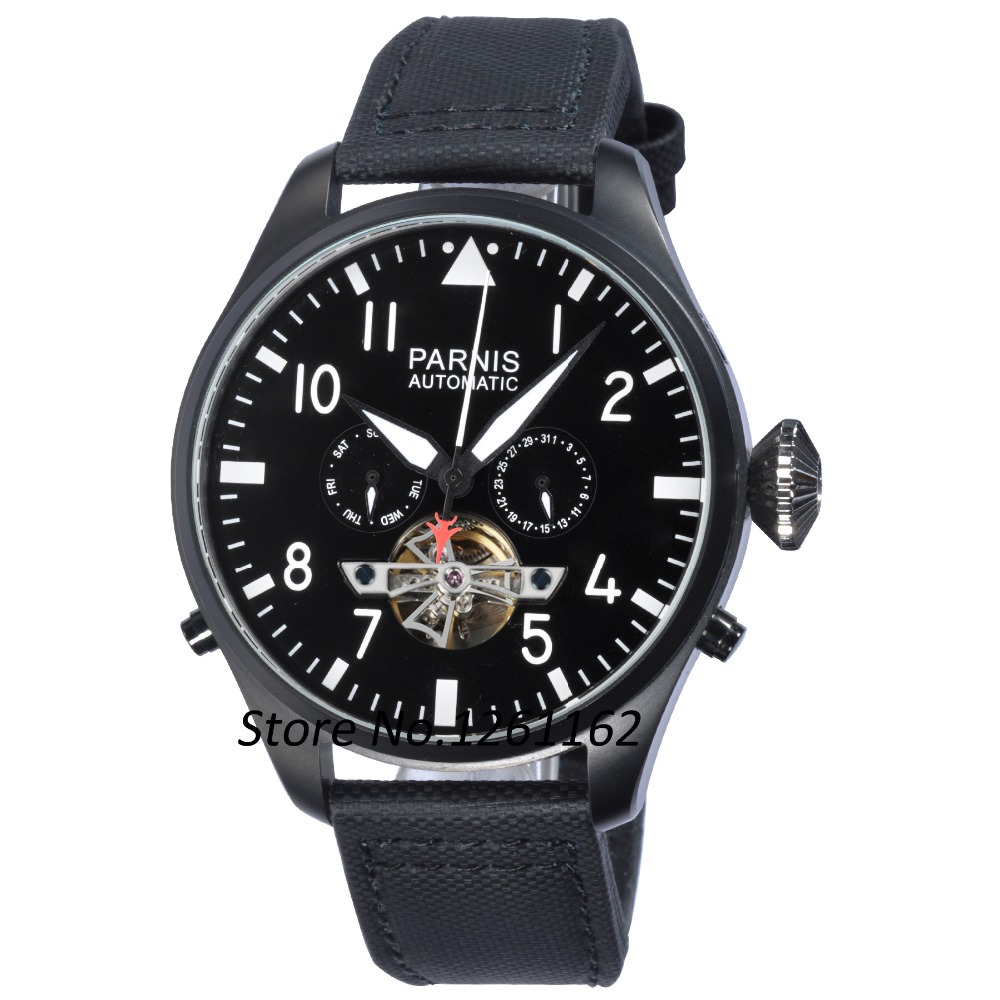47mm Parnis Big Poilt Style Black PVD Case White Numbers Seagull Automatic Men s Watch PA4713PBW