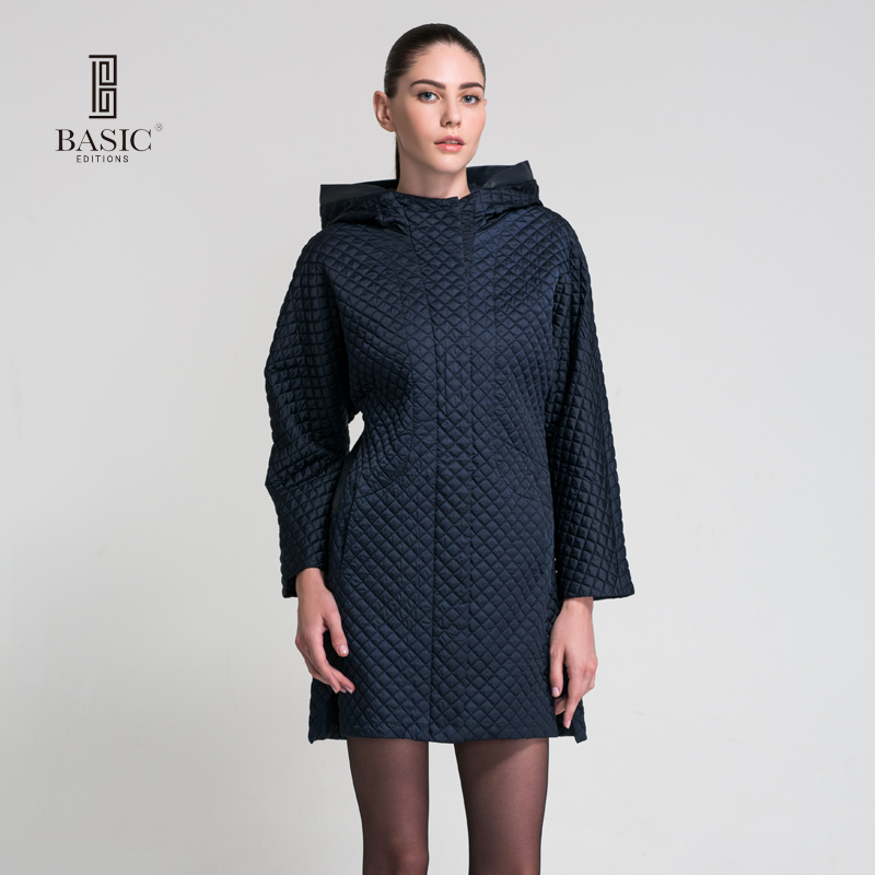 BASIC EDITIONS Women Coat Winter Cotton Parkas Coat Long Cotton-padded Jacket Plus Size Slim Coat Hooded Dark Blue Coats  FY001A okxgnz winter cotton jacket coat women 2017long cotton padded costume hooded loose warm coats plus size women basic coats ah021