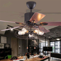 42/52 Inch Retro Dinning Room Ceiling Fan Lamp Creative Vintage Restaurant Living Room Bar Fan Lamp With Remote Control