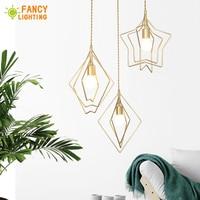 (E27 Light Source For Free)Nordic Pendant light Star/Heart/Diamond hanglamp for dining/living room/home decor luminaire suspendu