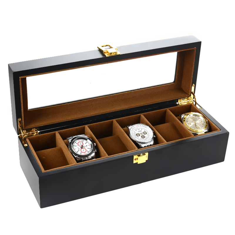 2019 New 6 Grids Wooden Watch Case Watch Boxes Casing for Hours Sheath for Hours Box for hours Watch 61 hours