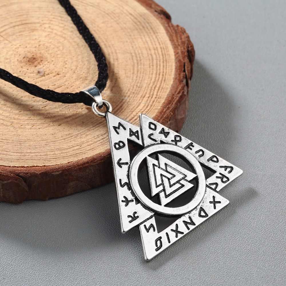 QIMING 2017 Thương Hiệu Trang Sức Nam Tam Giác Dây Chuyền Bạc Bắc Âu Valknut Rune Mặt Dây Chuyền Biểu Tượng của Viking Thần Odin Asatru Cổ