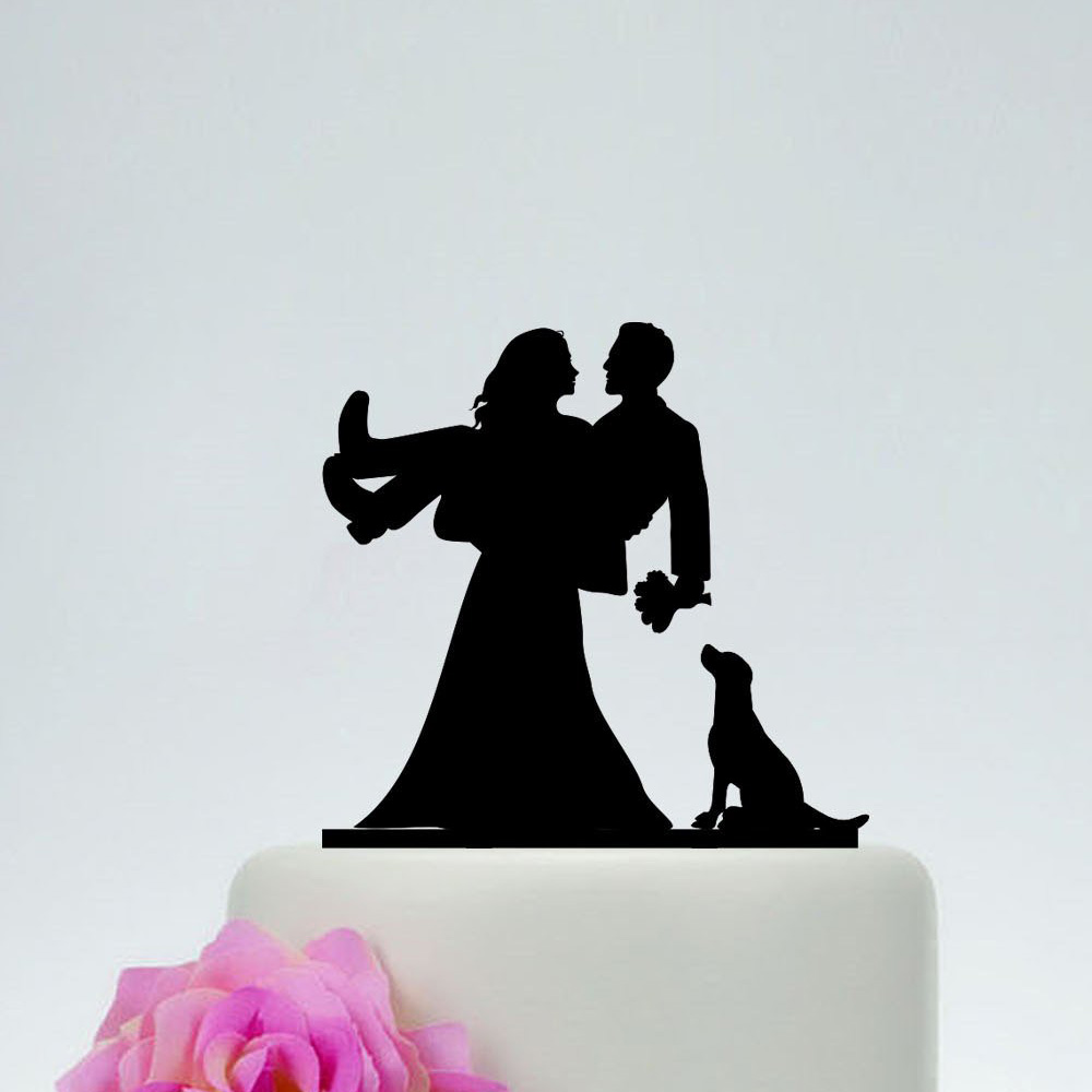 Family Wedding Bride And Groom With A Dog Silhouette Cake Topper Couple Wedding Cake Topper Funny Cake Topper Aliexpress