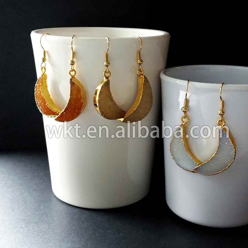 WT E109 Wholesale Natural sparkly druzy crescent moon earrings 24k gold dipped electroplated druzy half moon