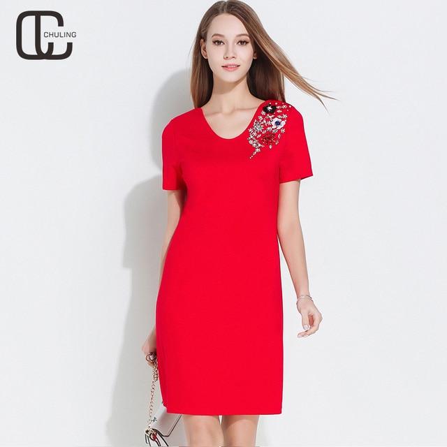 88105b685a4 Summer Women s Handmade Bead Diamond Plus Size Dresses For Lady Elegant Red  Short Dress Short Sleeves Simple Woman Clothing