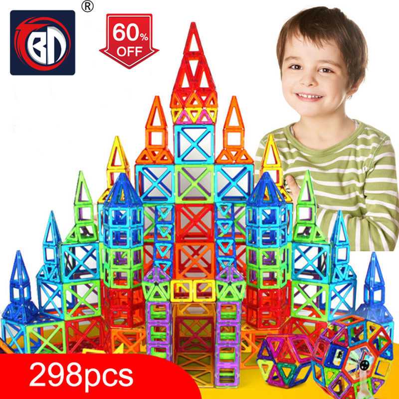 BD 298pcs Blocks Magnetic Designer Construction Set Model & Building Toy Plastic Magnetic Blocks Educational Toys For Kids Gift mrpomelo 100pcs magnetic blocks toy with sled ufo wheels alphabets 2017 educational magnetics building block set toys for kids