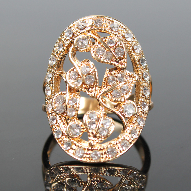 2015 New Sale Real Italina Rings For Women Genuine Austria Crystal Rose Gold Col