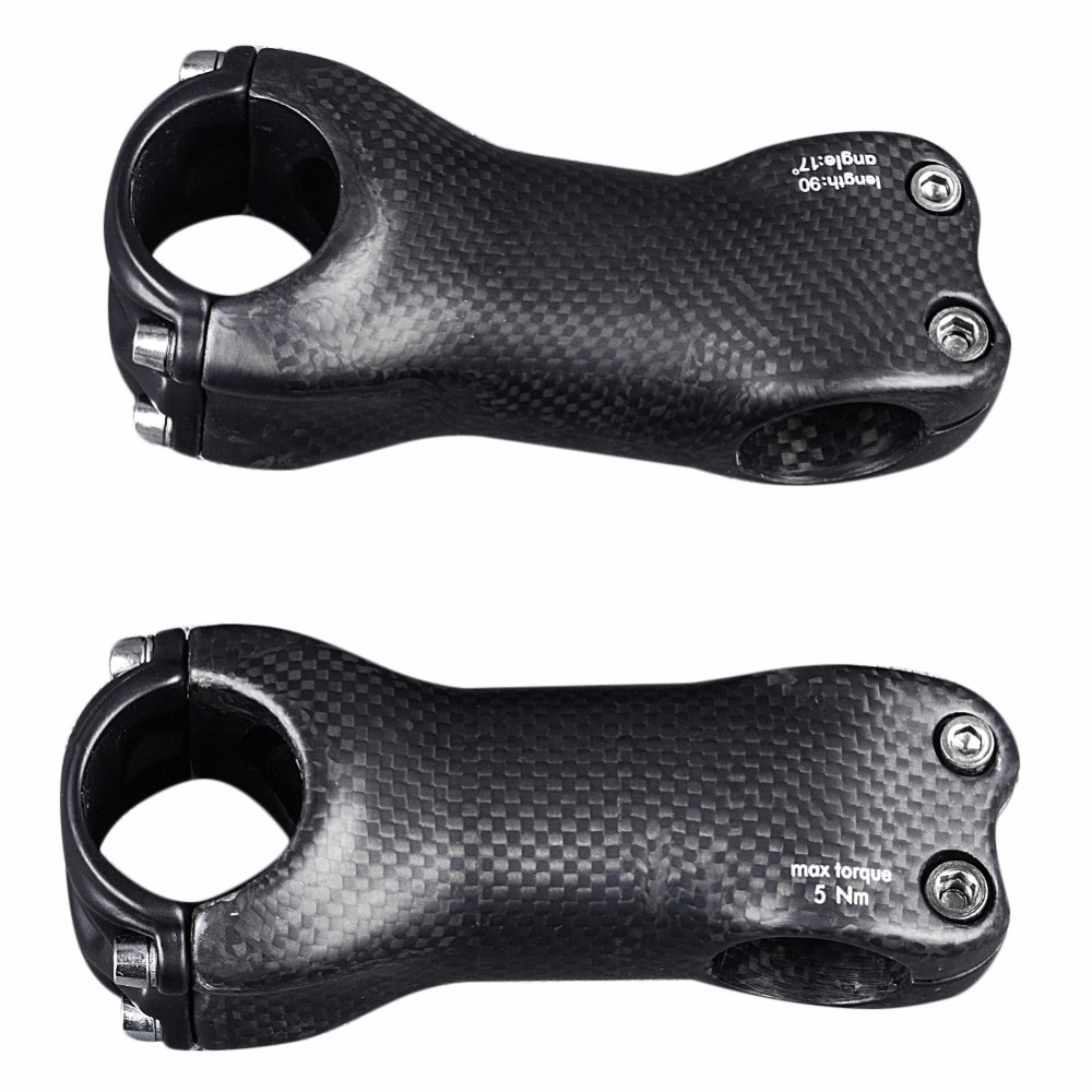 Bicycle Stem Full Carbon Fiber MTB Road Bike Handlebar Stem 6//17 degree 3K Matte
