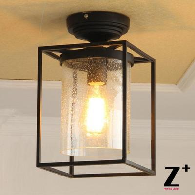 Edison lights American Industrial style ceiling lamp vintage bubble glass black iron flush mount ceiling light light