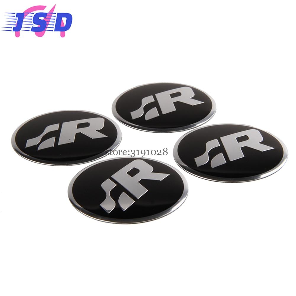 4 unids car styling parte llanta emblema superficial arco hub caps badge para sr logo para
