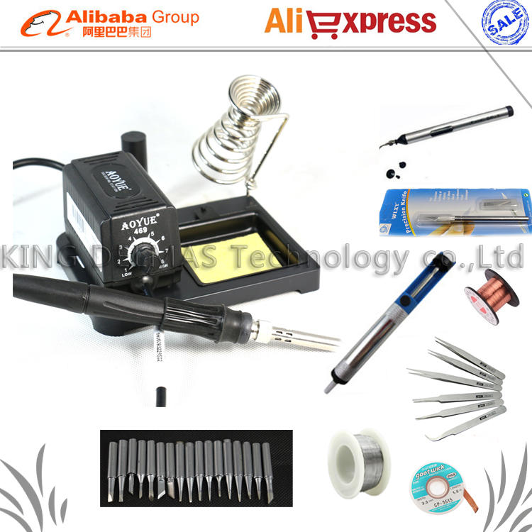 ФОТО Free shipping Aoyue 469 high performance soldering iron/220V ESD Adjustable portable MINI Soldering Station /Welding tool set