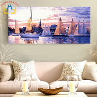 50 100 Large Oil Painting By Numbers Painting Calligraphy Coloring By Number Landscape Sea Boat Drawing