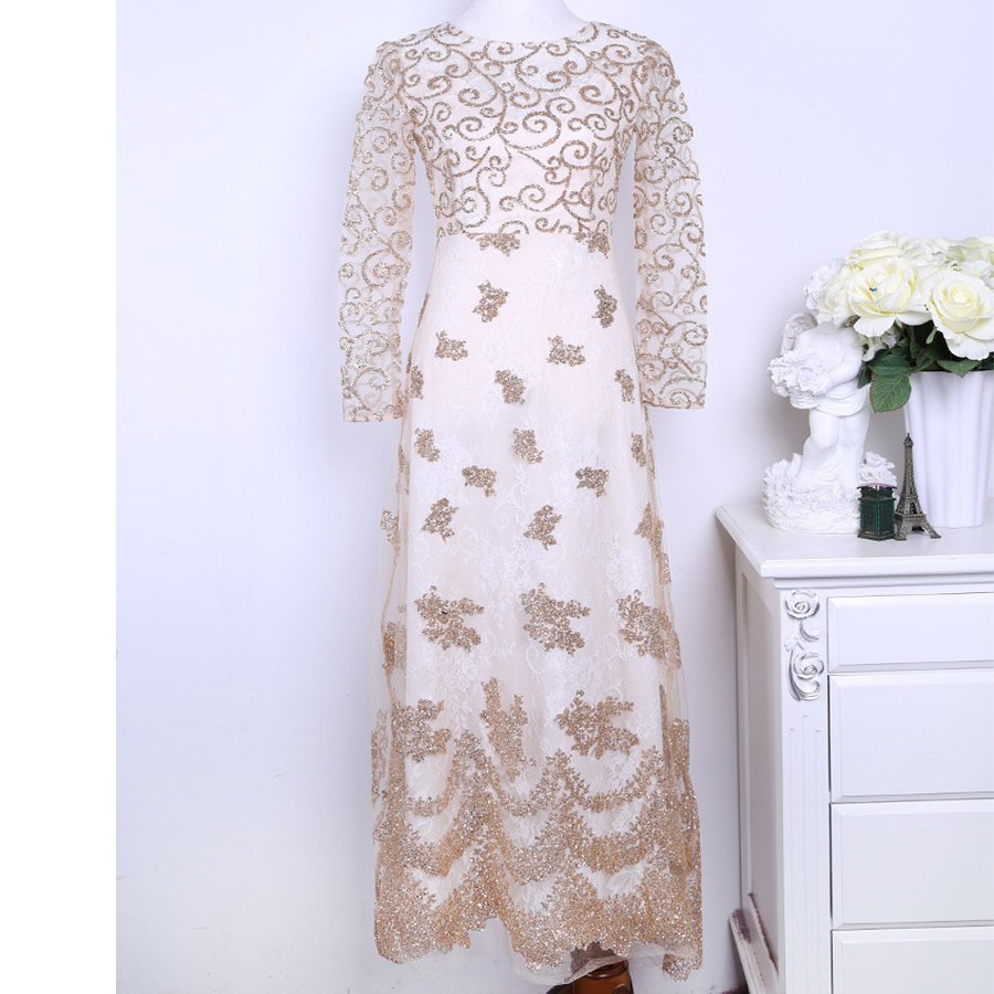 Luxury Style Handmade Embroidery Long Sleeve White Lace Crochet ...