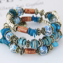 Bohemian Style Colorful Multilayer Gem Glaze Fimo Beads Bracelets & Bangles Woman Beach Wristband Jewelry Pulseras Mujer