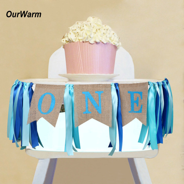 OurWarm 1pc Blue Highchair Banner For 1st Birthday I AM ONE Decoration Baby Shower Decor Boy First Party Favors