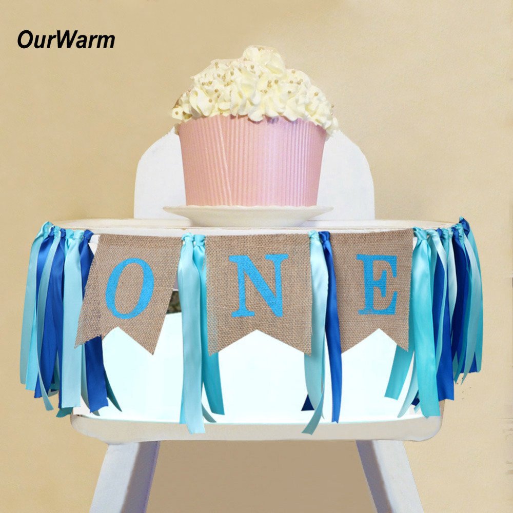 OurWarm 1pc Blue Highchair Banner for 1st Birthday Banner I AM ONE Decoration Baby Showe ...