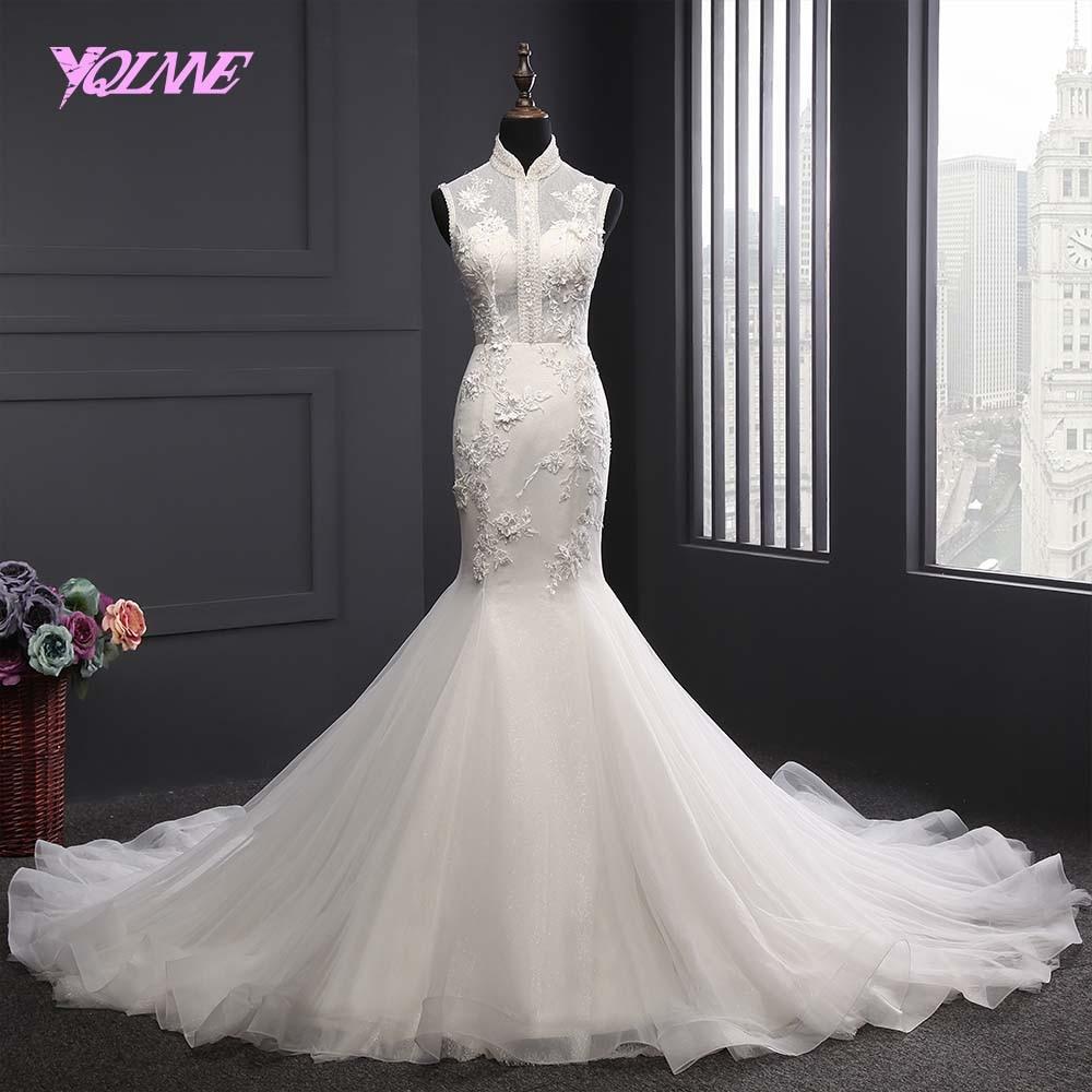 YQLNNE 2018 High Collar Mermaid Wedding Dress Sleeveless Bridal Dresses