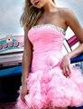 Don's Bridal A Line Short Coctail Gowns Strapless Bow Sexy Cocktail Dress Mini Organza Dresses 2016 Vestido De Festa