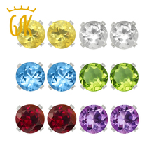 Gemstoneking mujeres 925 pendientes de plata de 4mm natural amatista citrino granate peridoto topacio stud earrings