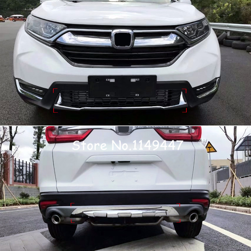 2pcs Chrome Car-Styling Exterior ABS Front & Rear Bumper Protector  Skid Plate  Cover Trim For Honda CRV CR-V 2017 2018  high quality car styling cover detector abs chromium tail back rear license frame plate trim strips 1pcs for su6aru outback 2015