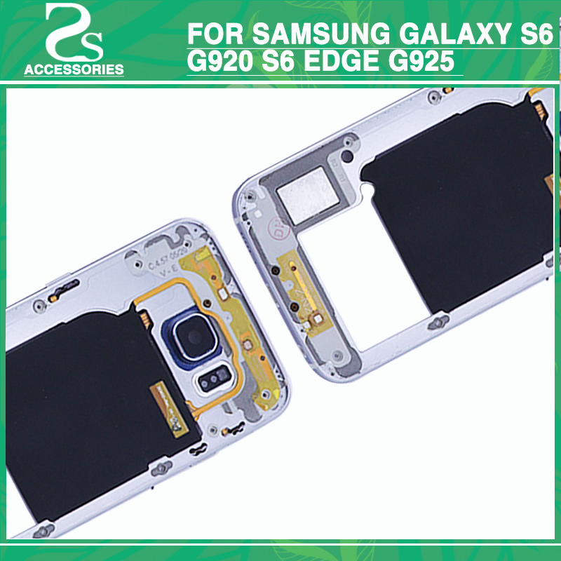 100% Original S6 S6 Edge Middle Frame For Samsung Galaxy G920 G925 LCD Front Bezel Mid Metal Middle Chassis Bac Housing Plate