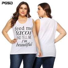 PGSD Summer casual white Pullover Letter printing Tee loose Big size T-shirt vest 4XL female Simple Fashion Plus Women Clothes