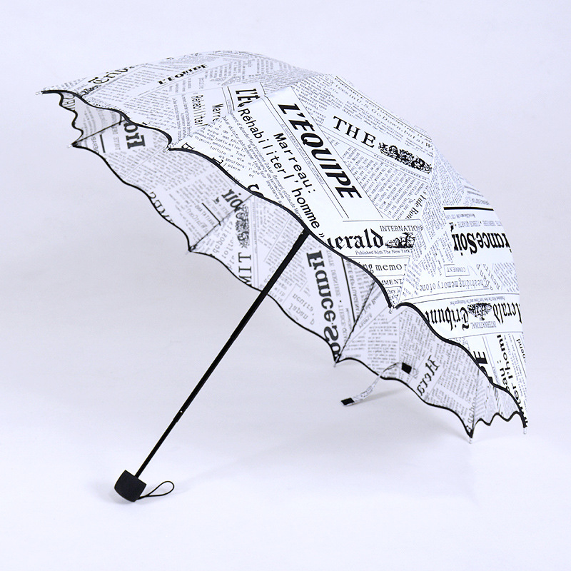 8K Creative Newspaper Three-folding Sunshade Umbrella Anti-UV Princess Sunny and Rainy Umbrella