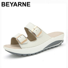BEYARNE Comfortable women sandals new fashion genuine leather shoes women slip on shoes summer women's open toe beach sandals