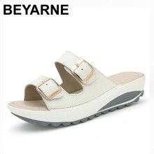 BEYARNE Komfortable frauen sandalen neue mode aus echtem leder schuhe frauen slip auf schuhe sommer frauen offene spitze strand sandalen