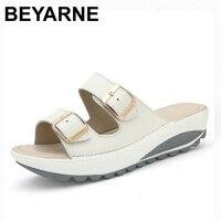 BEYARNE Wygodne sandały damskie nowe mody prawdziwej skóry buty kobiet slip on shoes lato kobiet open toe sandały plażowe