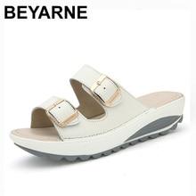 BEYARNE נשים נוחות סנדלי חדש אופנה אמיתי עור נעלי נשים להחליק על נעלי קיץ בוהן פתוח של נשים חוף סנדלי