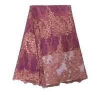 3D African lace fabric Purple stone tulle lace embroidery fabric for wedding dress nigerian 5yards lace fabric y 6 2