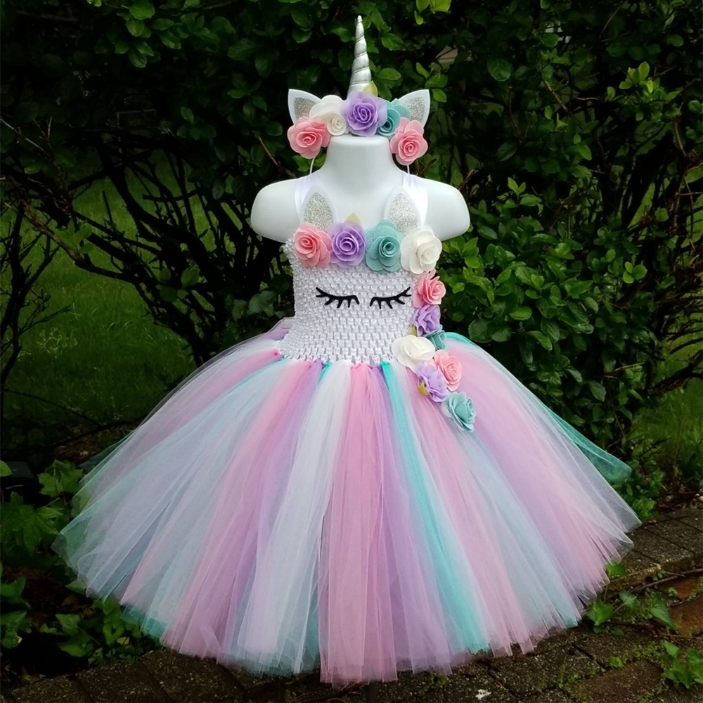 Kids Girls Unicorn Tutu Dress Knee-Length Pastel Rainbow Flower Girl Birthday Party Dress Up Fancy Halloween Unicorn Costume girls beauty and the beast cosplay ball grown kids party halloween fancy dress up outfits girls tutu full length sparkle dress