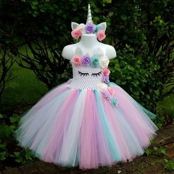 48013a588 Niños Niñas unicornio tutú vestido hasta la rodilla Pastel Arco Iris flor  chica cumpleaños fiesta vestido de lujo Halloween unicornio disfraz