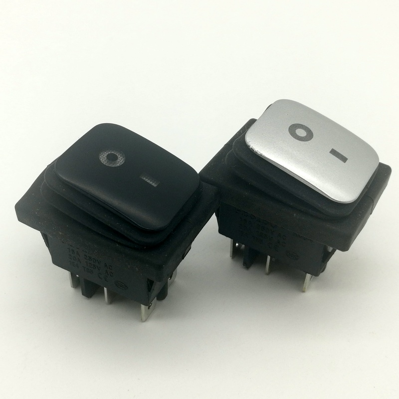 5Pcs RL2 Black and silver  Waterproof 6 Pin 2Position Locking DPST ON-OFF powder-coated Rocker Switch  4 led light colour choose 5 pcs promotion green light 4 pin dpst on off snap in boat rocker switch 16a 250v 15a 125v ac