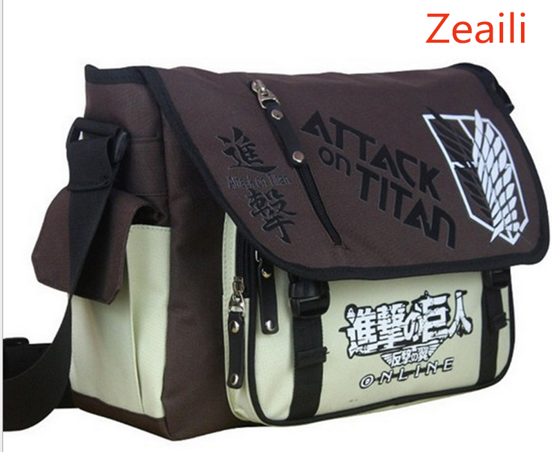 где купить Anime Shingeki no Kyojin Shoulder Bag Attack on Titan Sling Pack School Bags Messenger Bag Travel Male Men's Bag дешево