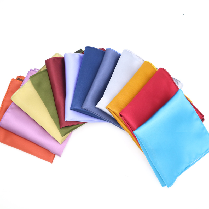 Luxury Men's Polyester Silk Handkerchiefs Man Solid Color Pocket Squares For Suits Jackets Wedding Party Business Hanky Gift