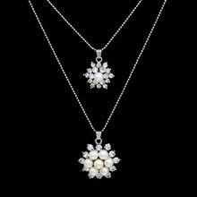 Wedding Jewlery Necklace Set Cz Crystal Stud Earrings Charm