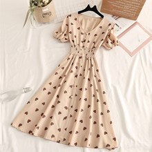2019 New Fashion Sweet Womens Dress Vintage V Neck Heart Print Short Sleeve Elastic Waist Long