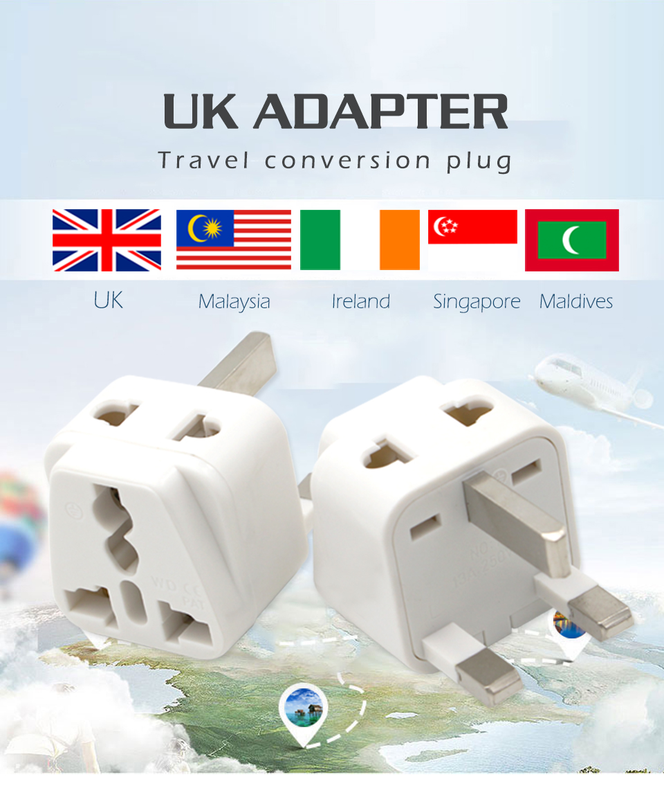 Hot-Sale Universal EU US AU to UK 3 Pin AC Power Socket Plug Travel Charger Adapter Converter 2 Device Charging (1)