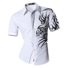 90c6f475 Mens 2018 Summer Fashion Print Casual Slim Fit Short Sleeve Male Mixed  colors Pocket Office Shirt
