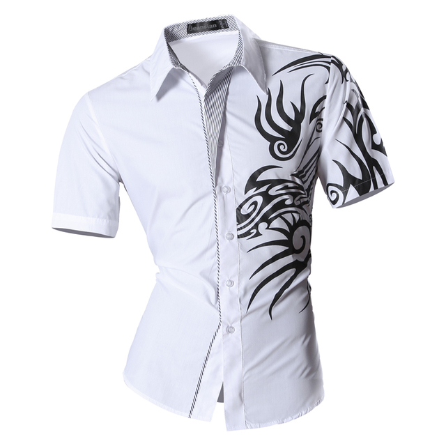 Mens 2017 Summer Fashion Print Casual Slim Fit Short Sleeve Male Mixed colors Pocket Office Shirt  Z031