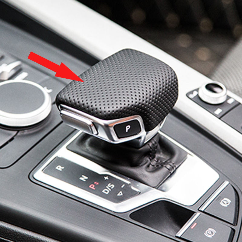 Free Shipping High quality Cowhide Gear head Cover Gear lever Cover gear shift knob Cover For 2017 Audi A4 A4L Q7 oem leather dsg s tronic gear lever shift knob cover for audi a1 a3 a4 a5 q3 q5 vw golf jetta mk5 mk6 tiguan