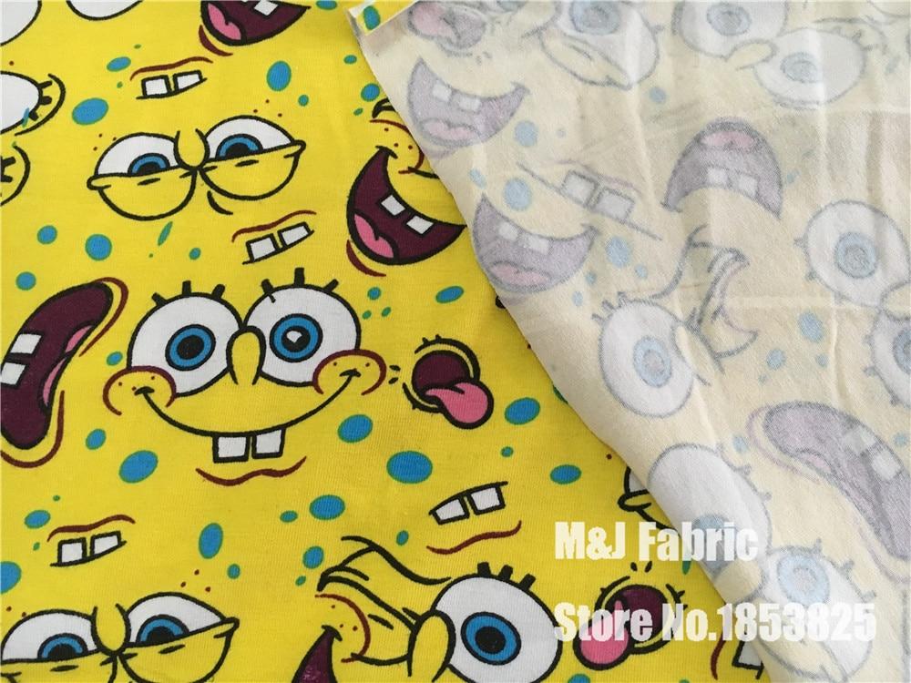 50*175cm SpongeBob SquarePants elasticity Lycra knitted cotton ...